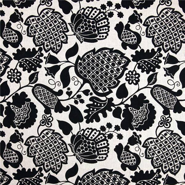 Marseilles Ebony Black Floral Cotton Reversible Upholstery Fabric By