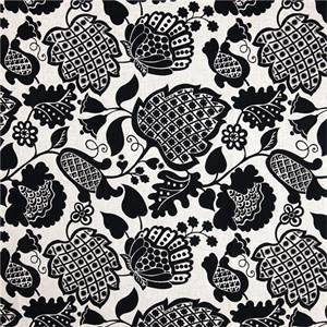 Marseilles Ebony Black Floral Cotton Reversible Upholstery Fabric by Richloom