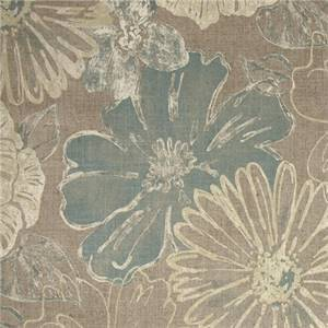 Suzy Dune Taupe Gray Floral Cotton Drapery Fabric by Richloom