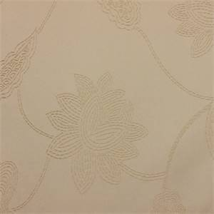 Jacquard Design DZ516 #12 Cream Embroidered Floral Stitch Faux Silk Fabric
