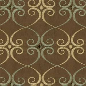 Seska Mouse Brown Embroidered Scrolls Faux Silk Fabric
