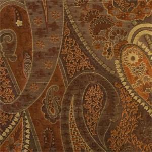 Vanderbilt Sienna Rust Paisley Floral Faux Silk Fabric