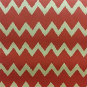 Ziggy Persimmon Red Ikat Chevron Stripe Cotton Drapery Fabric