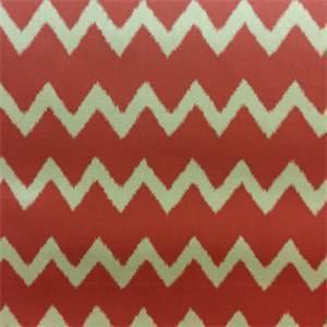 Ziggy Persimmon Red Ikat Chevron Stripe Cotton Drapery Fabric