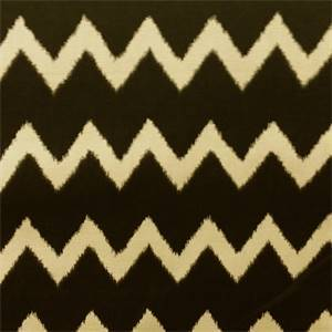Ziggy Charcoal Gray Cotton Ikat Chevron Stripe Drapery Fabric