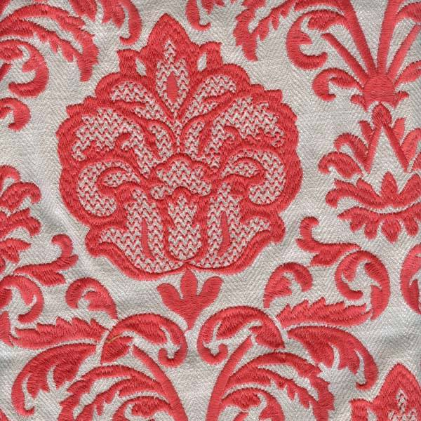 Worthington coral pink embroidered floral linen upholstery