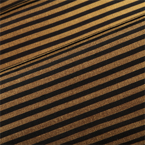 Black And Gold Horizontal Stripe Faux Silk Drapery Fabric - Black and gold stripe drapery fabric