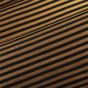 Black And Gold Horizontal Stripe Faux Silk Drapery Fabric