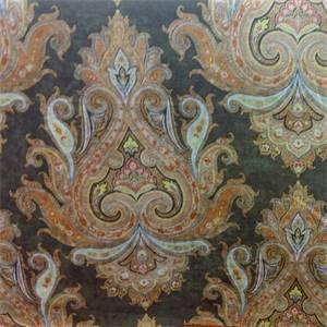 Aryshire Chocolate Printed Velvet Upholstery Fabric by P. Kaufmann