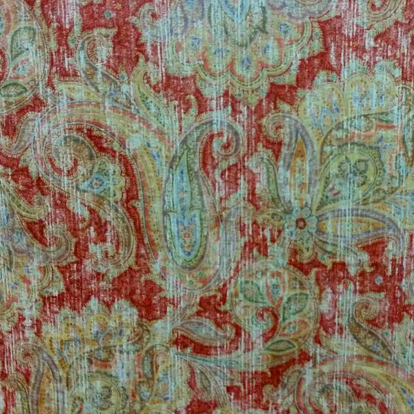 Glennifer Cherry Red Printed Velvet Fabric By P Kaufmann