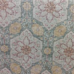 Toscana Tile Cerulean Green Drapery Fabric by P. Kaufmann