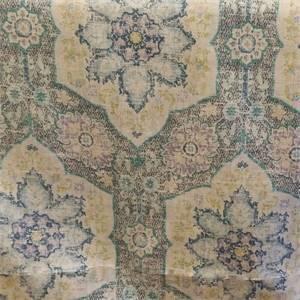 Toscana Tile Azure Blue Drapery Fabric by P. Kaufmann