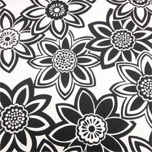 Full Bloom Black Floral Cotton Drapery Fabric by Richtex Premium Prints