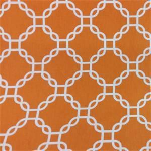 Criss Cross Orange Geometric Cotton Drapery Fabric by Richtex Premium Prints