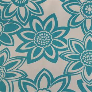 Full Bloom Turquoise Floral Cotton Drapery Fabric by Richtex Premium Prints