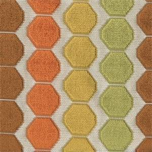 Beekeeper Spice Orange Cut Chenille Honeycomb Design Upholstery Fabric