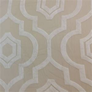 Tangier Taupe Tan Cut Chenille Geometric Design Upholstery Fabric