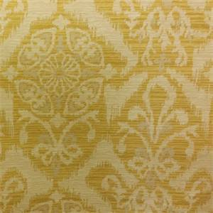 M9855 Citrus Yellow Floral Ikat Upholstery Fabric By Barrow