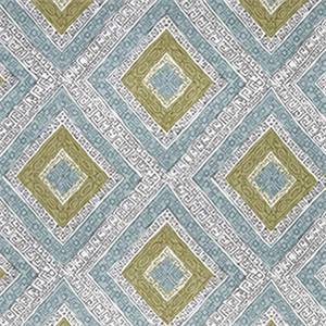 Ethnic Diamond Dew Blue Green Greek Key Diamond Cotton Drapery Fabric by Robert Allen