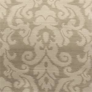 Kenwood Flax Tan Ikat Damask Upholstery Fabric by Waverly