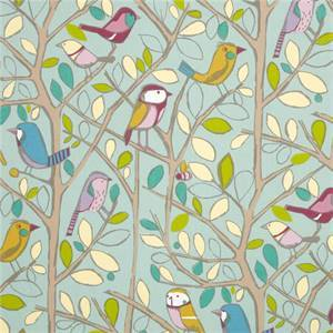 Tweety Half pan Duck Egg Blue Bird and Floral Cotton Drapery Fabric