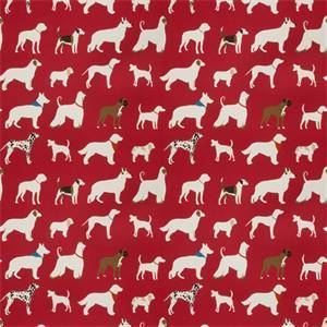Red Dog Pattern 03342 Cotton Drapery Fabric