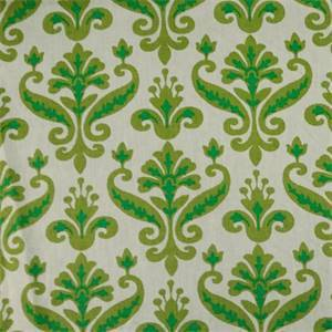 Carnation CC#4 Mineral Apple Green Floral Linen Drapery Fabric
