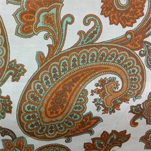 Vecchio CC#4 Chestnut Sienna Brown Orange Floral Paisley Ikat Linen Drapery Fabric