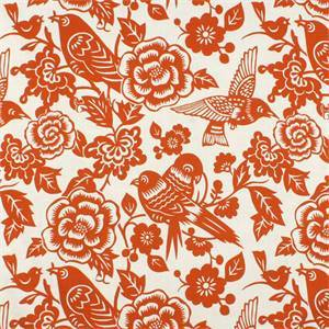 Aviary Tangerine 20874-35 Orange Cotton Floral Drapery Fabric by Duralee
