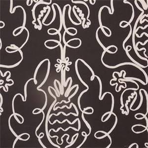 Pina Colada Licorice Black Ribbon Cotton Drapery Fabric by P Kaufmann