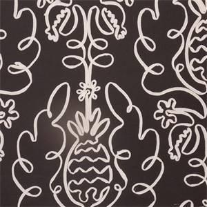 Pina Colada Licorice Black Ribbon Cotton Drapery Fabric by P Kaufmann