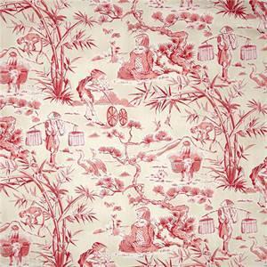 Haiku Azalea Pink Oriental Chintz Toile Drapery Fabric by Waverly