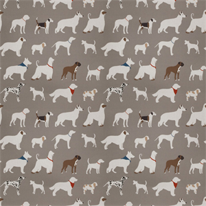 Dogs Gray 03442 Cotton Dog Print Drapery Fabric Swatch 53948