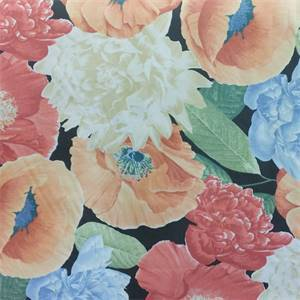 Painted Floral Rose Red Floral Cotton Drapery Fabric