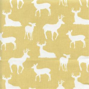 Deer Silhouette Saffron Yellow Drapery Fabric by Premier Prints 30 Yard Bolt