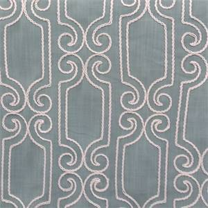 Booker Spa Blue White Embroidered Geometric Swirl Drapery Fabric
