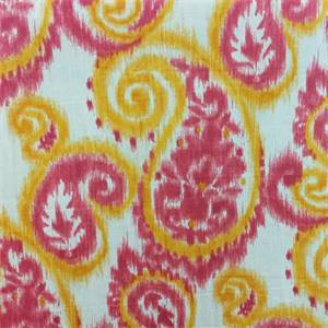 Carroway Melon Ikat Paisley Drapery Fabric by Richloom Platinum Fabrics