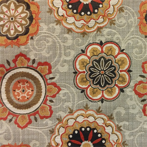 Philby Terracotta Orange Woven Floral Medallion Upholstery Fabric By