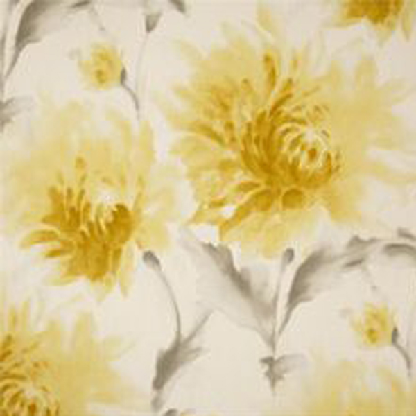 Tranquil Lemoncello Yellow Gray Watercolor Floral Cotton Drapery ...