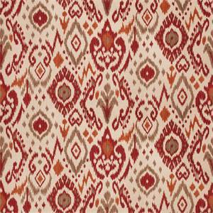 03510-VY Spice Red Ikat Drapery Fabric by Trend Fabrics
