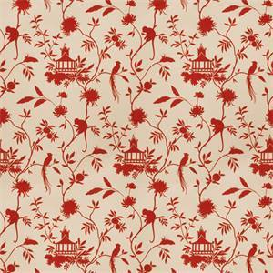 03508-VY Red Toile Drapery Fabric by Trend Fabrics