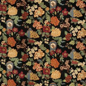 03517-VY Onyx Garden Black Floral Drapery Fabric by Trend Fabrics