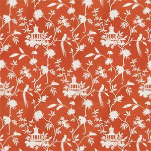 03508-VY Orange Toile Drapery Fabric by Trend Fabrics