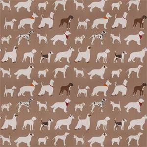 03499-VY Brown Dog Pattern Drapery Fabric by Trend Fabrics
