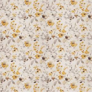 03511-VY Yellow Grey Floral Drapery Fabric by Trend Fabrics