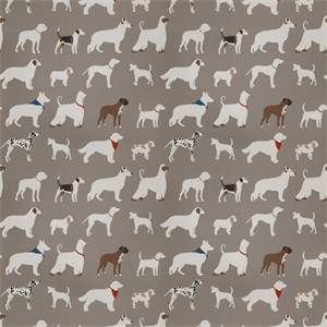 03499-VY Grey Dog Pattern Drapery Fabric by Trend Fabrics