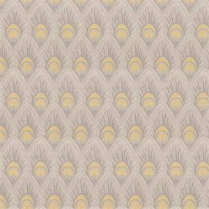 03518-VY Yellow Grey Feather Print Upholstery Fabric by Trend Fabrics