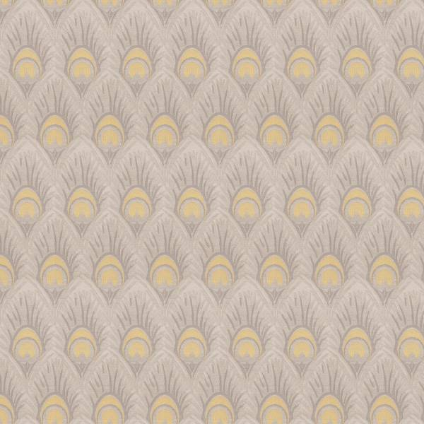 03518 Vy Yellow Grey Feather Print Upholstery Fabric By Trend