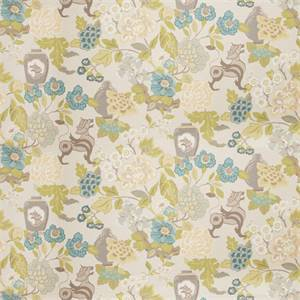 03517-VY Aqua Floral Drapery Fabric by Trend Fabrics