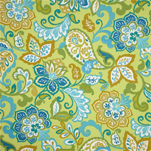 Sabry Lime Green Floral Paisley Indoor Outdoor Fabric By